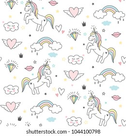 Seamless cute unicorn pattern with stars, rainbow, clouds and hearts. Magical baby background
