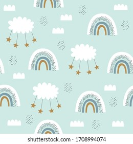 Seamless cute vector pattern for kids, children, baby. Rainbow, clouds, moon, and stars background. Scandinavian style for fabric, wallpaper, clothes, swaddles, apparel, planner, sticker