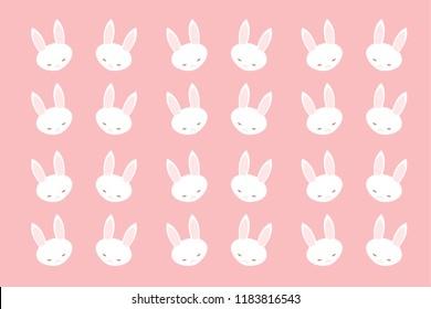 Seamless cute white bunny rabbit
