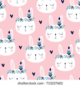 seamless cute white bunny rabbit in hippie style pattern vector illustration