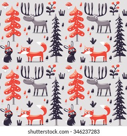 Seamless cute winter christmas pattern made with fox, rabbit, mushroom, moose, bushes, plants, snow, tree
