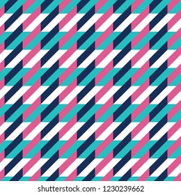 Seamless cyan magenta and white vintage stitched houndstooth pattern vector