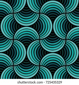 Seamless Cyan Petals Black Background Pattern