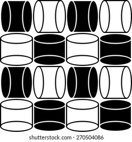 Seamless Cylinder Pattern. Vector Black and White Texture