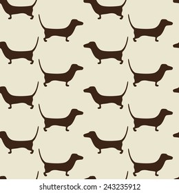 Seamless dachshund background with repeating cute brown dachshund silhouettes staying opposite one another isolated on beige background. For holiday decoration, textile, wrapping paper, wallpaper
