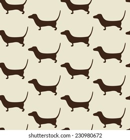 Seamless dachshund pattern with repeating cute brown dachshund silhouette on beige background. For holiday decoration, textile, wrapping paper, wallpaper, gift boxes, other packing elements