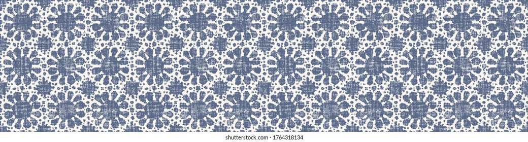 Seamless daisy border pattern in french blue linen shabby chic style. Hand drawn floral damask texture. Old white blue background. Interior home decor edge bordure. Ornate flourish motif ribbon trim.