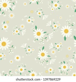 Seamless daisy floral pattern, Beautiful daisy floral, bloomy plant grass decor, illustration - Vector