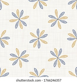 Seamless daisy floral pattern in french blue linen shabby chic style. Hand drawn country bloom texture. Rustic woven background. Simple flower motif allover print