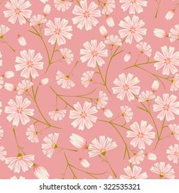 Seamless daisy flower pattern on pink background