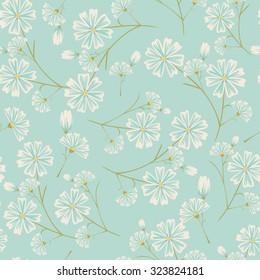 Seamless daisy flower pattern on light blue background