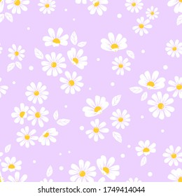 Seamless of daisy flower repeating on purple background vector illustration. Cute floral pattern.