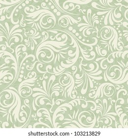 Seamless Damask background in the style of green