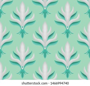Seamless damask flower pattern. silver and green color. neo mint background. decoration wallpaper