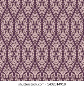 Seamless damask pattern with abstract shape