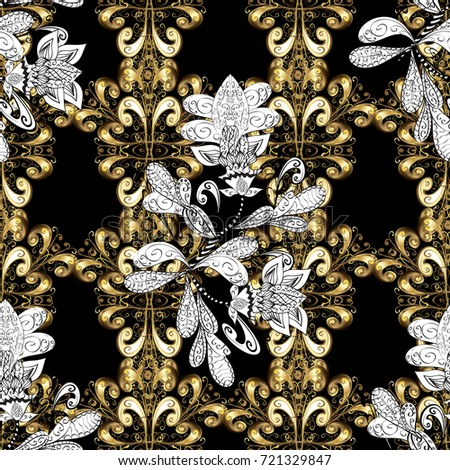 Seamless Damask Pattern Background For Wallpaper Design In The Style Of Baroque Golden On