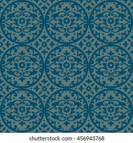 Seamless damask pattern in blue and beige. Endless pattern can be used for ceramic tile, wallpaper, linoleum, web page background.