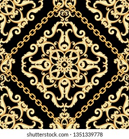 Seamless damask pattern. Golden beige on black texture with chains. Vector illustration. Can use as background, t shirt design, textile print, clothing and linen, wallpapers, wrapping paper