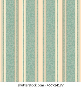 Seamless damask pattern in green and beige. Endless pattern can be used for ceramic tile, wallpaper, linoleum, textile, web page background