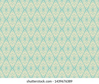 Seamless damask pattern with leaves and shapes