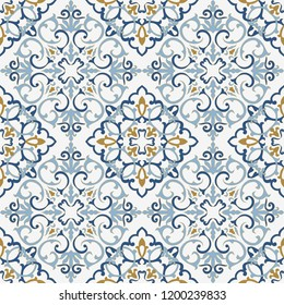 Seamless Damask pattern. Majolica pottery tile, blue, white and gold azulejo, original traditional Portuguese and Spain decor. Seamless pattern with Victorian motives. Vector illustration.