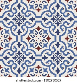 Seamless Damask pattern. Majolica pottery tile, blue, brown and gray azulejo, original traditional Portuguese and Spain decor. Seamless tile with Islam, Arabic, Indian, Ottoman motifs.