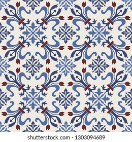 Seamless Damask pattern. Majolica pottery tile, blue, brown and gray azulejo, original traditional Portuguese and Spain decor. Seamless tile with Islam, Arabic, Indian, Ottoman motifs