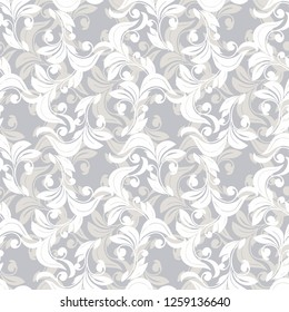 Seamless damask pattern.Vector retro background.Lush curls and wavy lines.Vintage ornament. Used for Wallpaper, printing on wrapping paper, textiles, web pages.