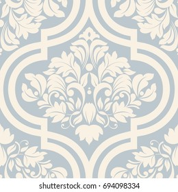 Seamless damask wallpaper in blue and beige. Seamless vintage pattern in Victorian style . Hand drawn floral pattern. Vector illustration