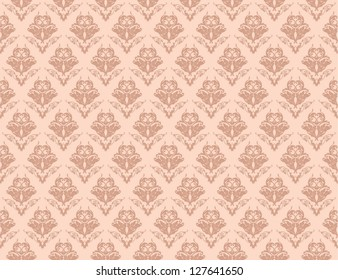 Seamless damask wallpaper in light colors, vector