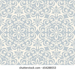 Seamless damask wallpaper. Vintage pattern in Victorian style . Hand drawn floral pattern. Shabby chic Vector illustration