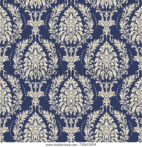 Seamless Damask Wallpaper Seamless Vintage Pattern Stock Vector