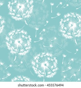 Seamless dandelion pattern, vector plant and seeds illustration on sky background