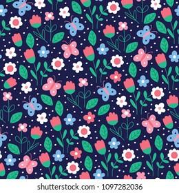 seamless dark blue flower pattern vector illustration