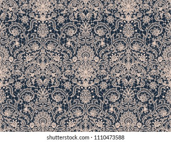 Seamless dark blue lace background with floral pattern