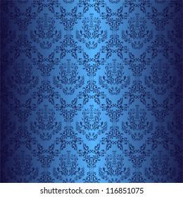 Seamless dark blue wallpaper in style retro.