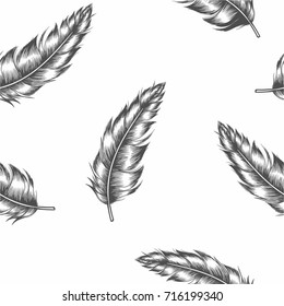 seamless dark feather on white background