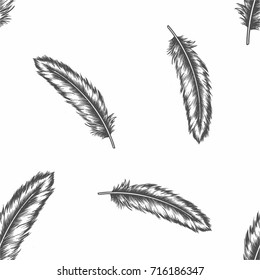 seamless dark feather on whitebackground