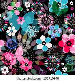 Seamless dark floral pattern with colorful flowers,  translucent butterflies and decorative circles (vector eps 10)