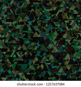 Seamless Dark Geometric Structured Triangles Black Background Vector Pattern