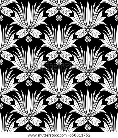 Seamless Dark Lotus Flower Wallpaper