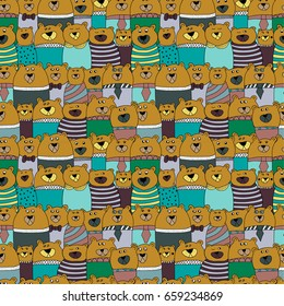 Seamless dark pattern with bears with different emotion. Vector illustration.
