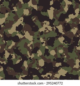 Seamless dark woodland classic military fashion camouflage pattern vector