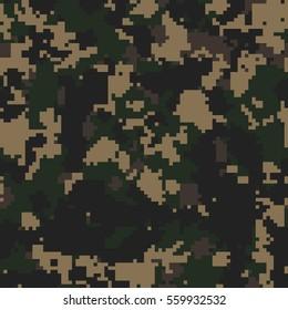 Seamless dark woodland digital pixel camouflage fashion pattern vector