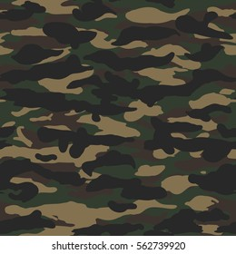 Seamless dark woodland fashion camouflage wide pattern vector