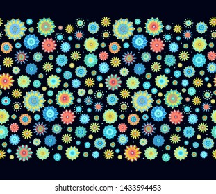 Seamless decorative border pattern with colorful floral Medusozoa,  jellyfish, medusa on dark background