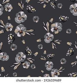 Seamless decorative elegant pattern with cute flower of pansy. Amazing seamless floral pattern on a grey background. Vintage antique watercolor style print for textile, wallpaper, covers, surface