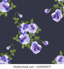 Seamless decorative elegant pattern with small-scale cute flower of viola. Vintage antique watercolor style print for textile, wallpaper, covers, surface