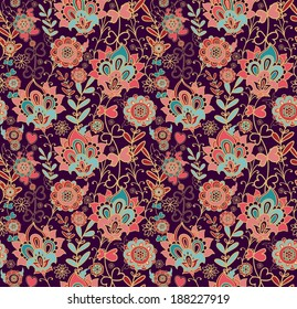 Seamless decorative floral pattern in oriental style