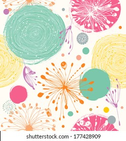 Seamless decorative pattern with abstract details. Cute funny background
